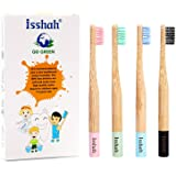 Isshah Kids Bamboo Toothbrushes Biodegradable Handle BPA Free Eco Friendly Children Size, Pack of 4 (Spiral Soft Nylon…
