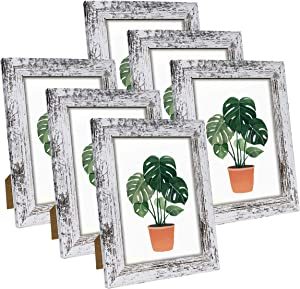 Q.Hou 5x7 Picture Frame Wood Pattern Distressed White Photo Frames Packs 4 with High Definition Glass for Tabletop or Farmhouse Wall Decor (QH-PF5X7-RW)