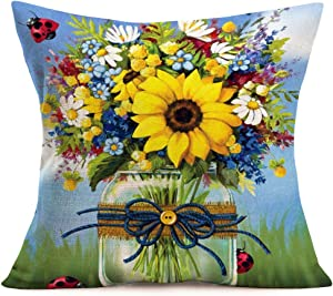 Smilyard Sunflower Decor Throw Pillow Covers Cotton Linen WhiteDaisy and BlueWild Flower Print Pillow Case Square 18x18 Inch Animal Decorative Pillowcase Outdoor Decor for Sofa Couch (K-k 02)