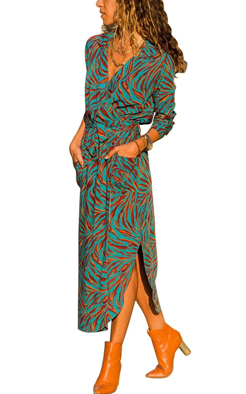 MAGIMODAC Blumenkleid Boho Kleid Strandkleid Sommerkleid Maxikleid Blusenkleid Hemdkleid Shirt Kleid Lang 36 38 40 42 44 46