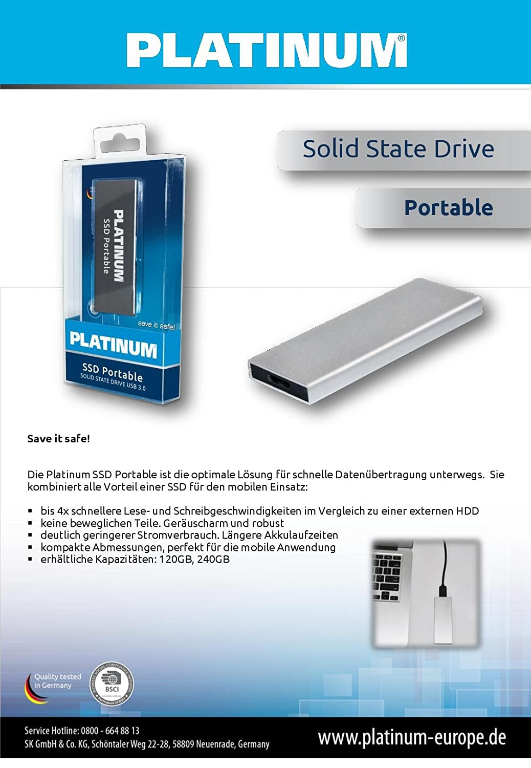 Platinum SSD Solid State Drive Portable 240 GB: Amazon.es: Informática