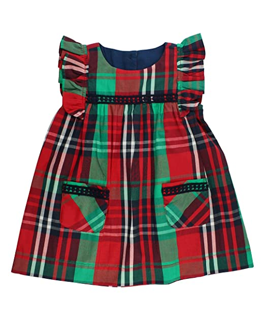 9781bb8a1 RuffleButts Infant/Toddler Girls Holiday Plaid Smocked Jumper Dress -  Kennedy Plaid - 18-