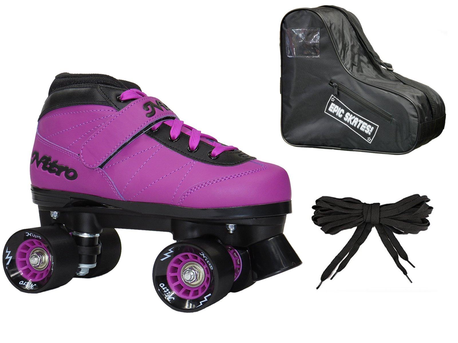 New! Epic Nitro Turbo Purple Indoor/Outdoor Quad Roller Speed Skates Bundle (Mens 7)
