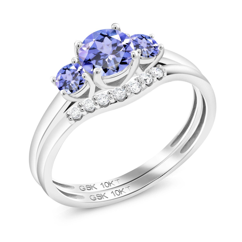 Gem Stone King 0.77 Ct Round Blue Tanzanite 10K White Gold Lab Grown Diamond Ring (Size 9)