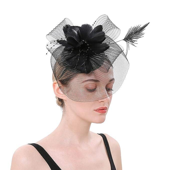 d33b0730b4c82 Forbeautiful Net Veil Feather Flower Kentucky Derby Fascinator Headpiece  Tea Party Cocktail Wedding Headwear for Women