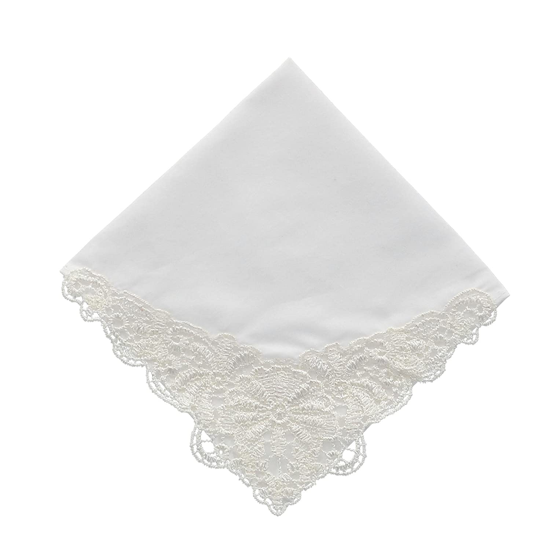 CTM Women's Rachel Guipure Lace Handkerchief White WO-05RGL-WHT