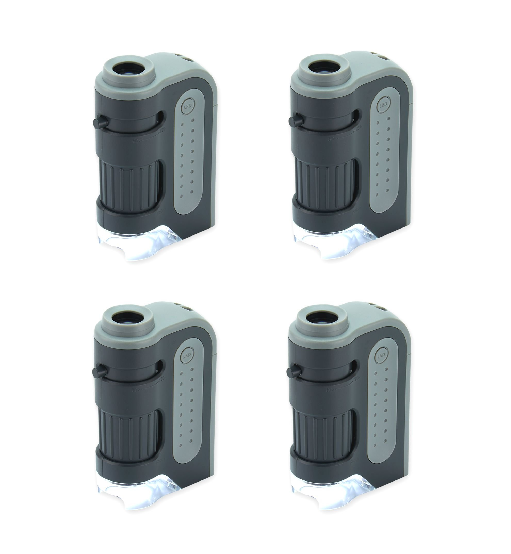 Carson MicroBrite Plus 60x-120x Power LED Lighted Pocket Microscope - Set of 4 (MM-300MU) by Carson