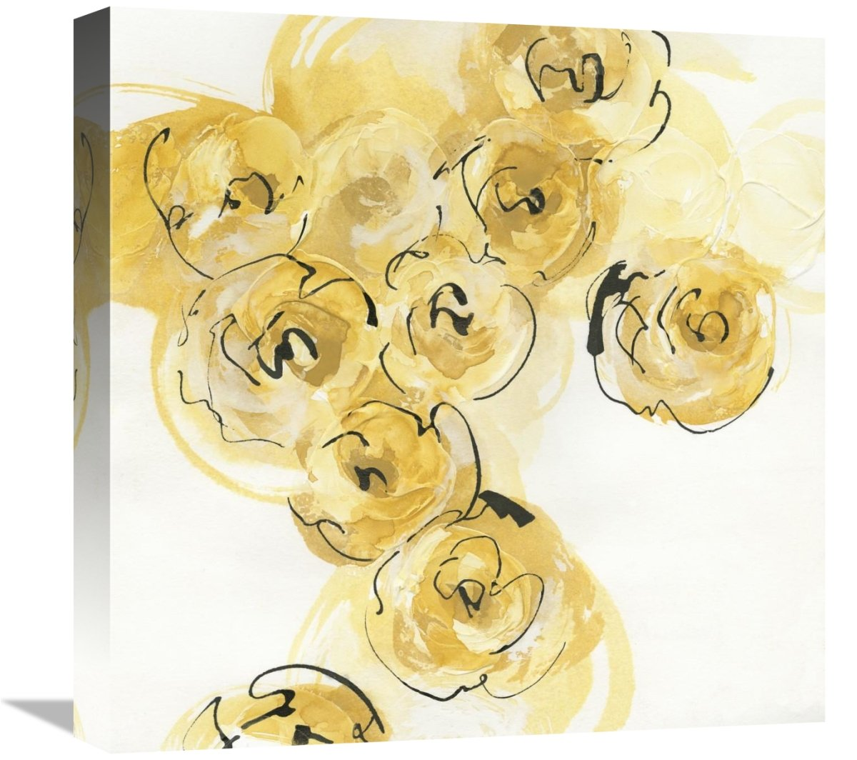 Global Gallery Chris Paschke Yellow Roses Anew II v.2 Giclee Stretched Canvas Artwork 18 x 18