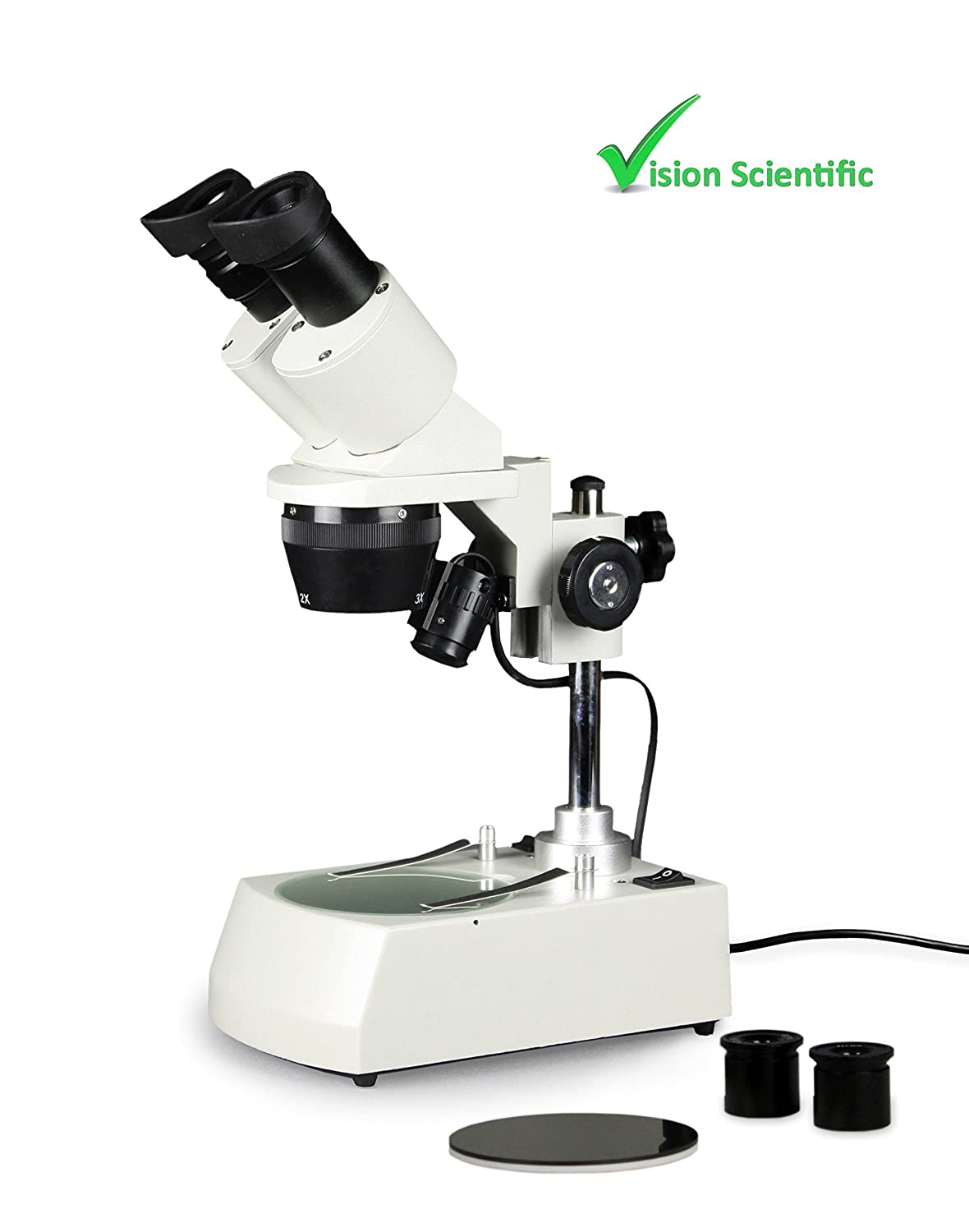 Image of Vision Scientific VMS0002-LD-234-ES2 Tri-Power Binocular Stereo Microscope, 2X, 3X, 4X Objectives, Pair of 10x and Pair of 20x WF Eyepieces, 20x, 30x, 40x, 60x, 80x Magnification, Top and Bottom LED Compound Binocular Microscopes