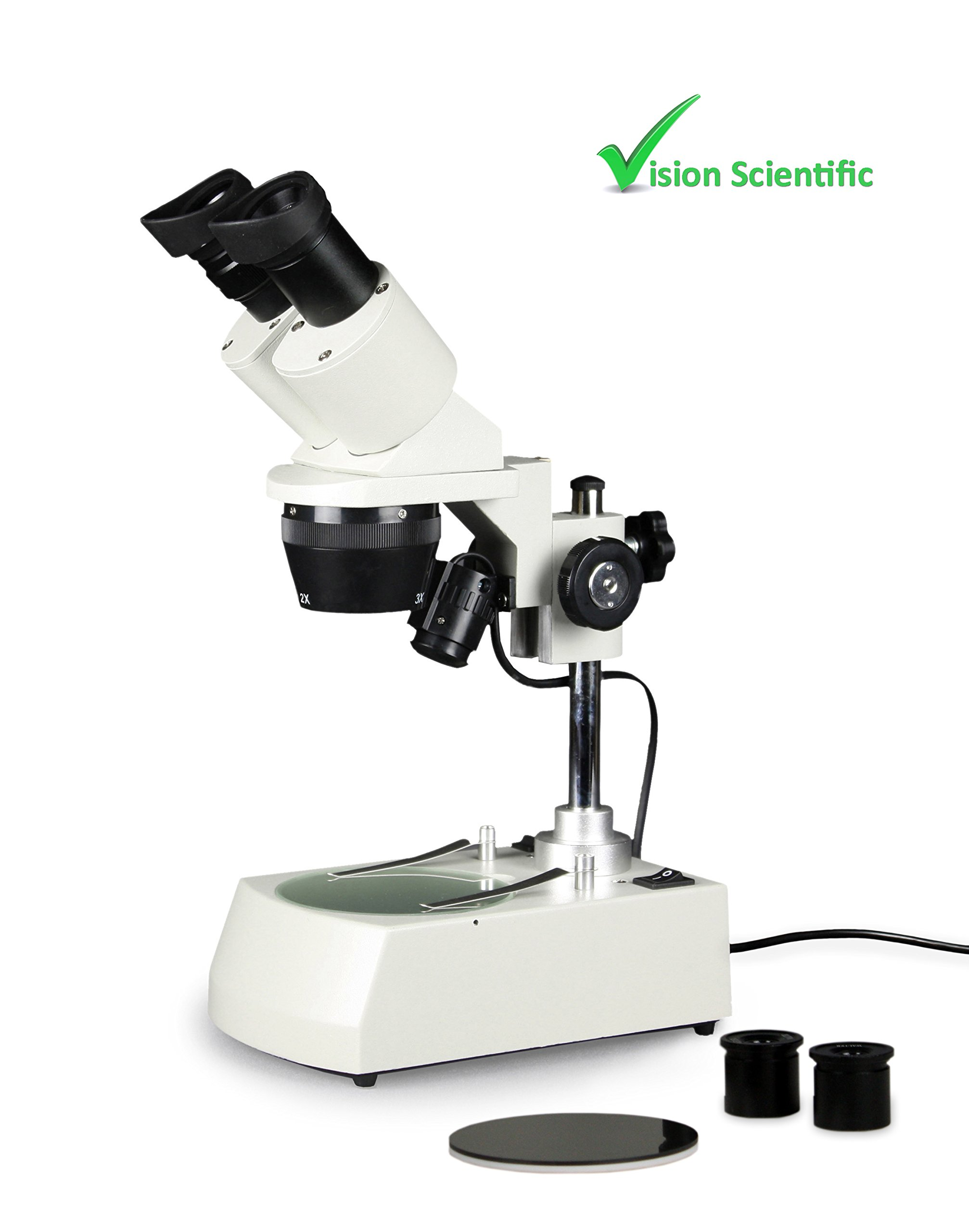 Vision Scientific VMS0002-LD-234-ES2 Tri-Power Binocular Stereo Microscope, 2X, 3X, 4X Objectives, Pair of 10x and Pair of 20x WF Eyepieces, 20x, 30x, 40x, 60x, 80x Magnification, Top and Bottom LED by Vision Scientific