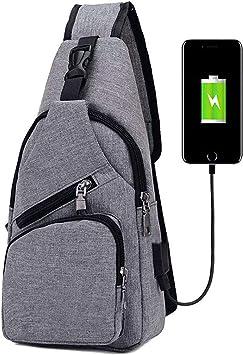 Convient pour la Randonn/ée Camping Comprend 1 C/âble USB Sac /à Poitrine avec Chargement USB Sac /à Dos de Voyage pour Homme /& Femme V/élo flintronic/® Sacoche Homme Bandouliere