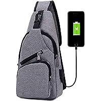 flintronic Sling Bag, Bolsa de Pecho con Puerto de Carga USB, Puerto Crossbody para Hombres Mujeres Senderismo Ligero…