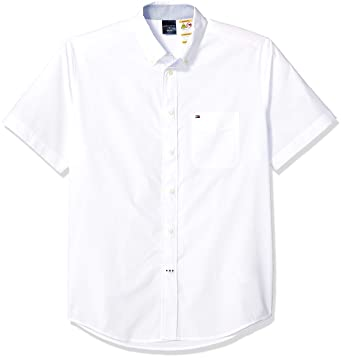 8301f3e9 Tommy Hilfiger Men's Adaptive Magnetic Short Sleeve Button Shirt Slim Fit,  Bright White, Small