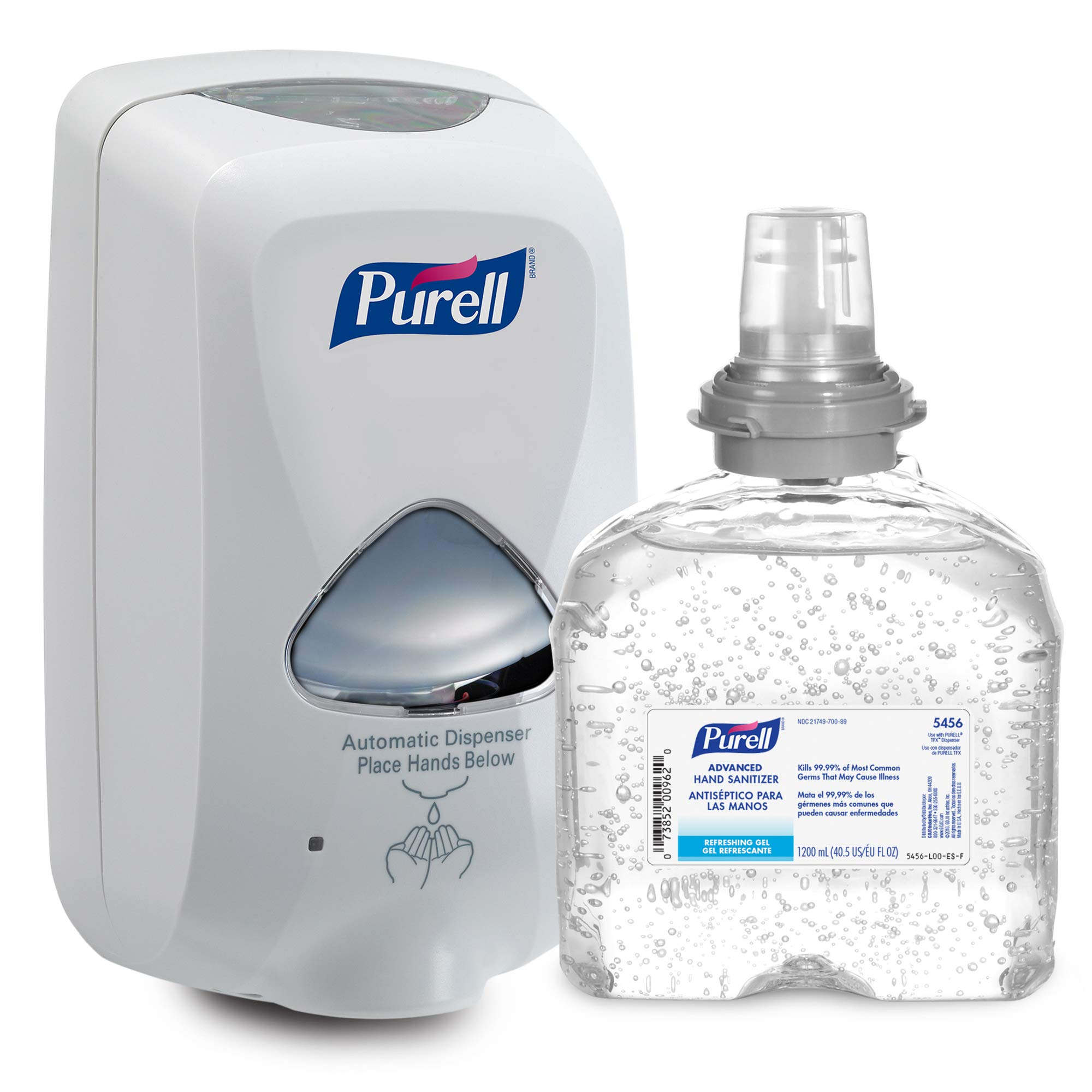 PURELL Advanced Hand Sanitizer Gel TFX Starter Kit, 1-1200 mL Hand Sanitizer Refill + 1- PURELL TFX Dove Grey Touch-Free Dispenser – 5456-D1 by Purell (Image #1)