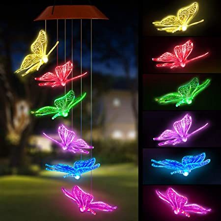 Solar Colour Change Butterfly Windchime LED Light Wind Chime Garden Outdoor