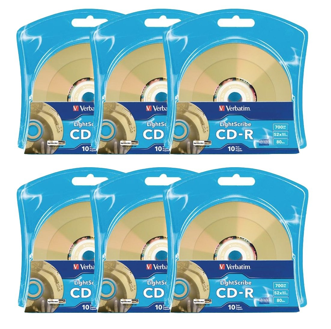 Verbatim 52X CD-R LightScribe Blank Media, 700MB/80min - 60 Pack (6 x 10 Packs)