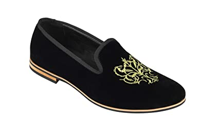 8a49e15c197 Xposed Mens Faux Suede Leather Gold Embroidered Floral Crest Logo ...