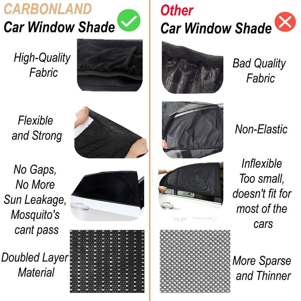 CARBONLAND Car-Window-Shades Side Rear Sun Protection Fit Small//Medium Car 2pck