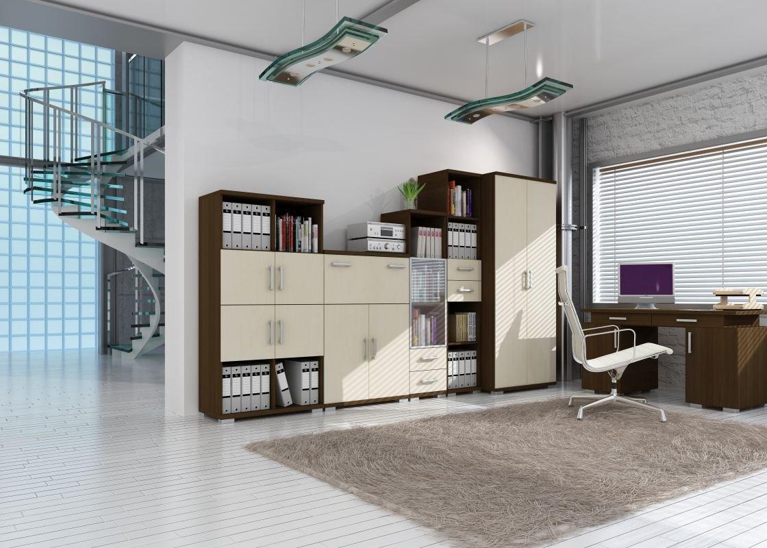 Büro Komplett - Set A Trelew, 6-teilig, Farbe  Wenge   Ahorn