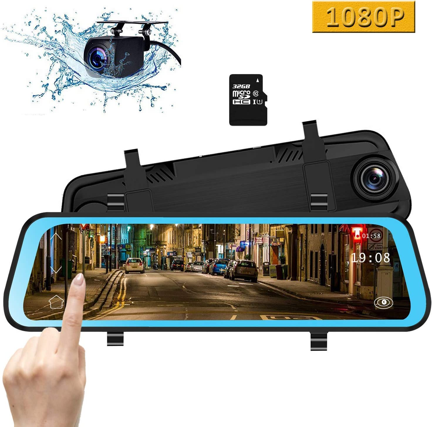 CAMONS 10 Inch Mirror Dash Cam, Dual Lens IPS Touch Screen Rear View Mirror Camera with 1080P 170° Front and 150° Night Vision Waterproof Backup Camera with WDR, G-Sensor(32GB SD Card Included)