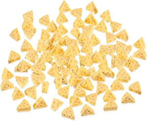Zomiboo 100 Pieces Miniature Triangle Cheesecake Miniature Resin Cheese Miniature Kitchen Food Cheese Simulation Cheese for Dollhouse Kitchen Decoration DIY Accessory