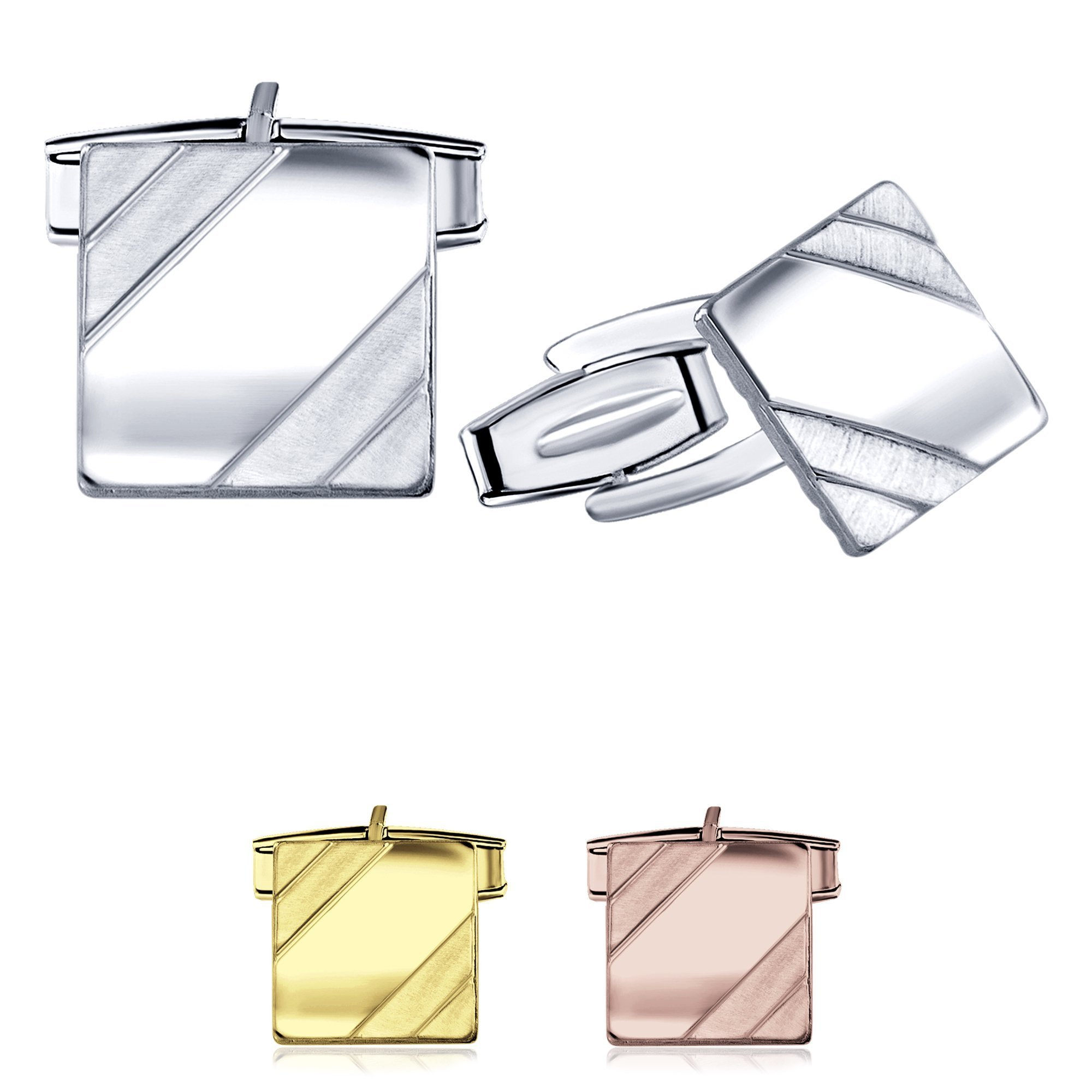 Men's Sterling Silver .925 Square Cufflinks with Satin Finish Accents in Two Corners, Engravable. Made In Italy. 14mm by Sterling Manufacturers (Image #1)