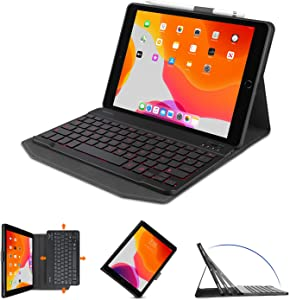OMOTON iPad 10.2 8/7th Gen 2020 Keyboard Case, 7-Color Backlit Rechargeable Detachable Slim PU Leather Keyboard Cover for iPad 10.2 inch/iPad Air 3rd Gen 10.5 inch 2019/iPad Pro 10.5 inch 2017, Black