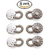 HYCC 6 Pack Metal Collar Extenders Button, Elastic Wonder Button Extenders, confortable et gratuit pour jeans, pantalons, chemises et robe de maternité, argent