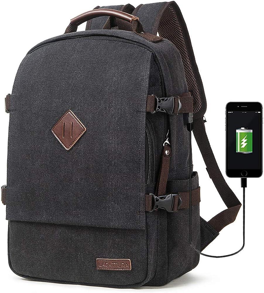 LACATTURA Vintage Laptop Backpack for Men Women, Stylish Denim Rucksack Casual Bookbag School bag for Boys&Girls