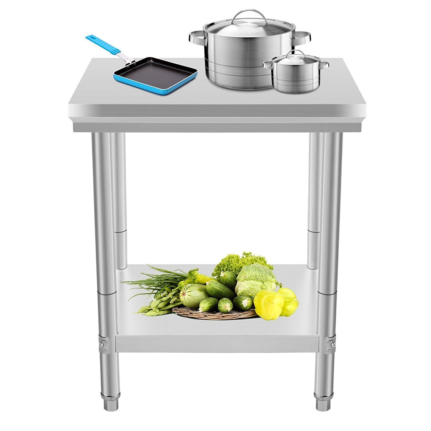 Mophorn Stainless Steel Work table 24 x 24 Inch Food Work Prep Table Work table for restaurant kitchen Home Warehouse