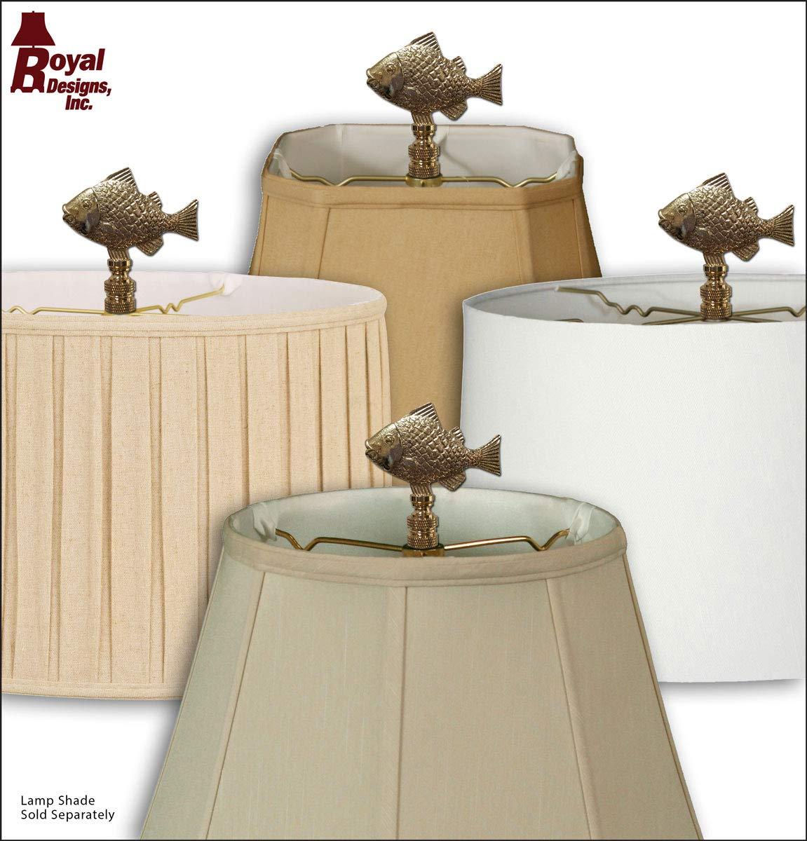 Royal Designs F-5067AB-2 Fish Design Lamp Finial Antique Brass Set of 2
