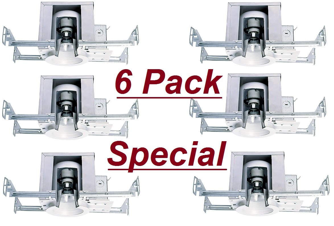 Cost Less Lighting 6 Pack - 4 Inch Ceiling Recessed Mini Down Can Light for New Work IC Air Tight - UL Listed