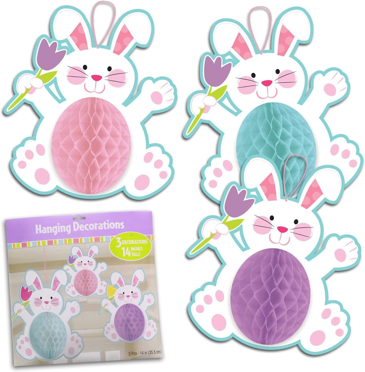 2 x Easter Bunny Shaped Hanging Paper Honeycomb Party Decoration