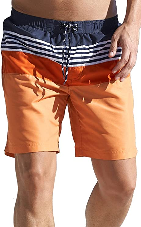 TALLA S. Cellbes Of Sweden - Bañador para hombre (talla S, M, XL, XXL), color naranja, azul marino y blanco
