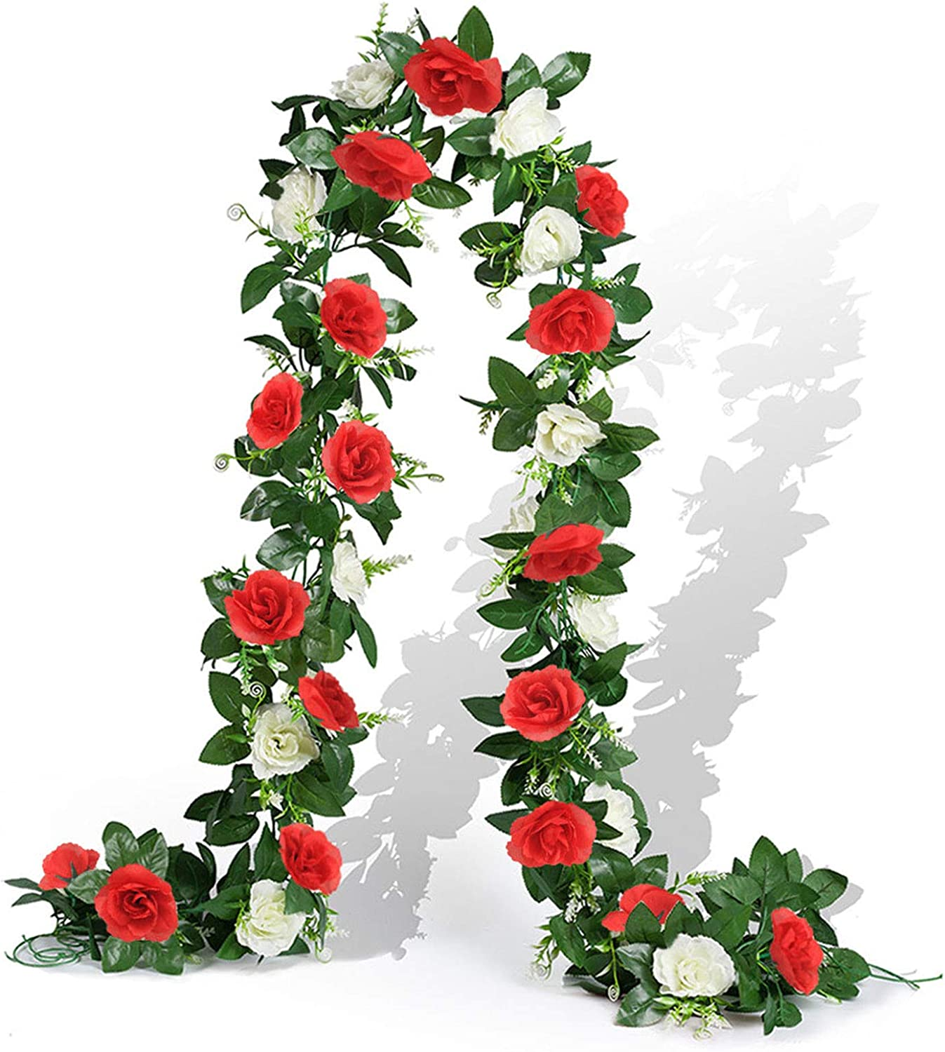 EPLST 2 Pack/15.7 FT Artificial Flowers Lifelike Silk Decorative Faked Flower Rose Vine Rattan Cane Garland Wall Hang Plant Wedding Party Home Garden Hotel Office Arch Arrangement Decoration White/Red