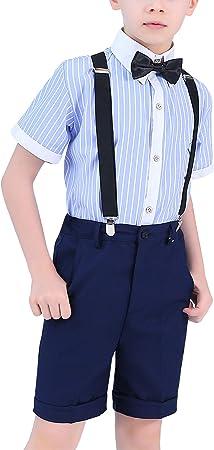 Happy Cherry - Traje Corto de Boda para Niño Bebés Pantalones Cortos con Tirantes para Verano Pajarita para Fiesta Ceremonia para Bebés de 3-13 Años