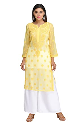Ada Latest Chikan Collection Ethnic Yellow Georgette Kurti With New Handmade Design A130754