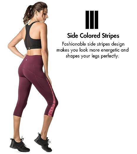 LAPASA Pantalón Deportivo de Mujer Versión Dual-Color y Bolsillo Súper-Ergonómico Lateral (Malla para Running, Yoga y Ejercicio.) L37/L38