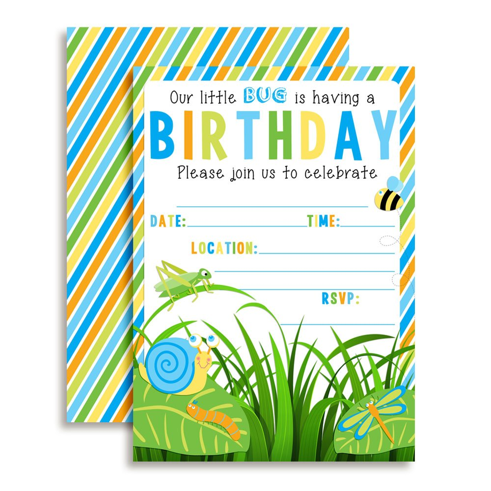 Bunch of Bugs Birthday Party Invitations for Boys, 20 5''x7'' Fill in Cards with Twenty White Envelopes by AmandaCreation