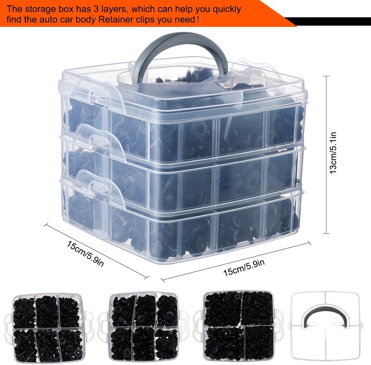 Vintoney Clips Voiture 655 Pcs Rivet Clips Plastique Fixation Noir Universel pour Auto Voitures Panneaux Garnitures de porti/ères avec Bo/îtier de Rangement et Outil D/émontage Installation