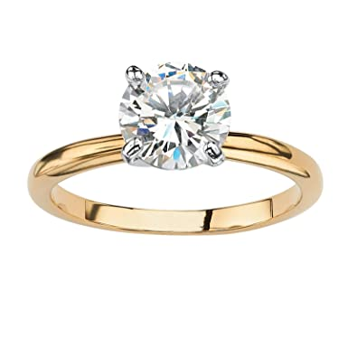 Amazon 18K Yellow Gold plated Round Cubic Zirconia Solitaire