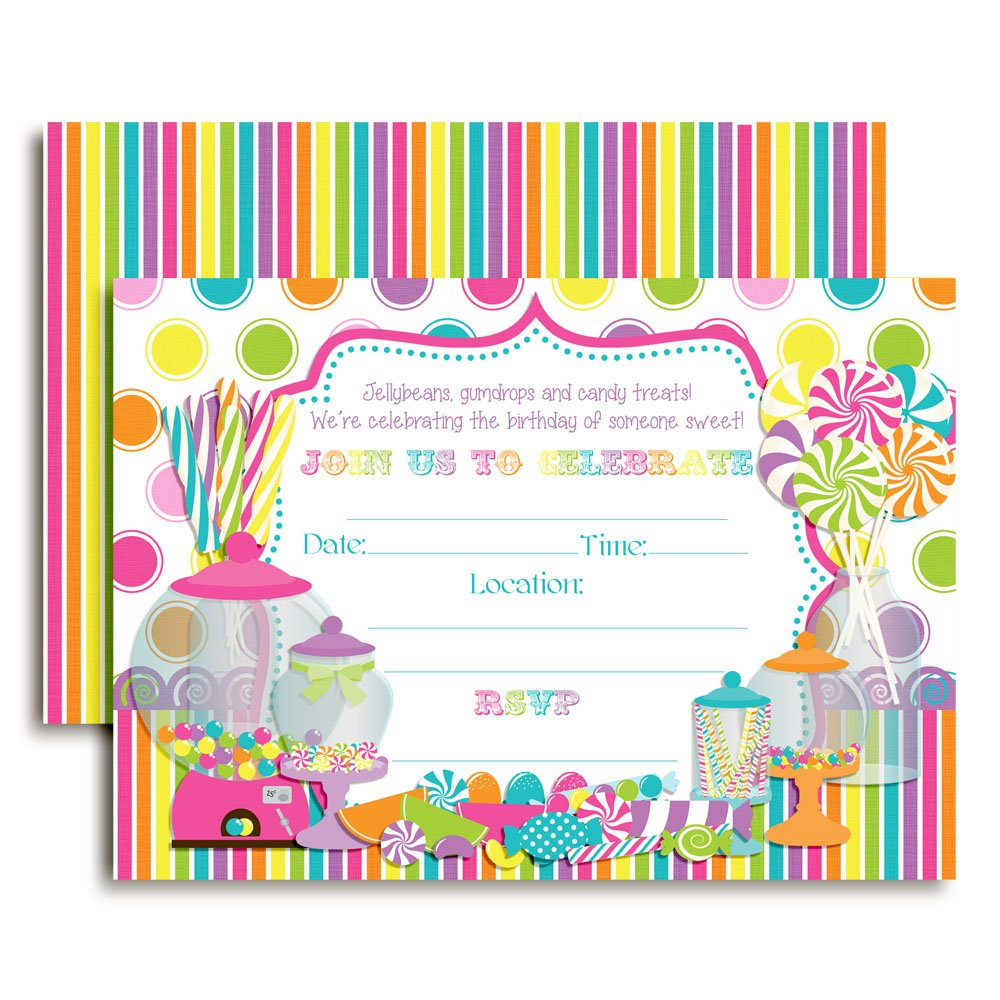 Sweet Shoppe Candy Shop Birthday Party Invitations, 20 5''x7'' Fill in Cards with TwentyWhite Envelopes by AmandaCreation