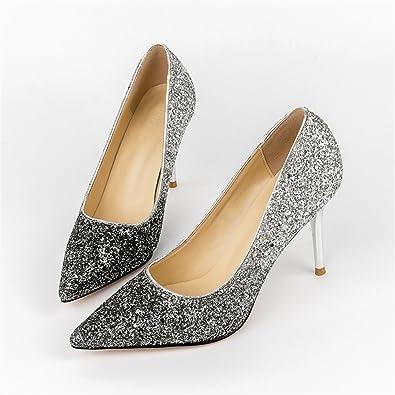 TYAW-Frauen Schuhe Heels Scrub Wies Farbe Flach Mund Pailletten,Schwarz Silber,38