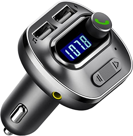 VicTsing Upgraded Version V4.1 Bluetooth FM Transmitter for Car, Wireless in-Car Bluetooth Adapter, Bluetooth Radio Transmitter Support Aux Input Output, TF Card and U-Disk, Hands Free Calls-Grey