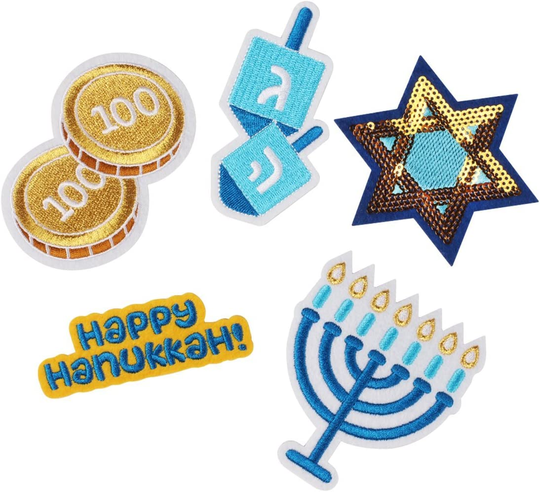 Dreidel Blue//White Spinning Top//Hanukkah Toy Iron on Applique//Embroidered Patch