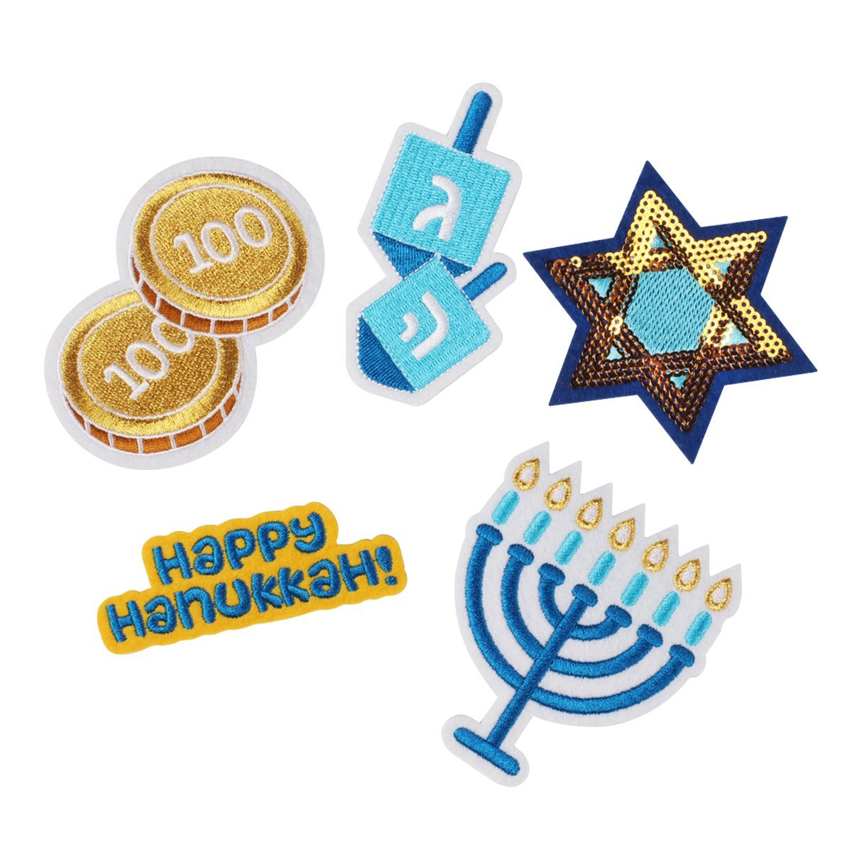 DCI Ugly Sweater Kit, Hanukkah Patches, Metal Pin Backs, Set of 5 Embroidered Patches, No Sewing Required by DCI