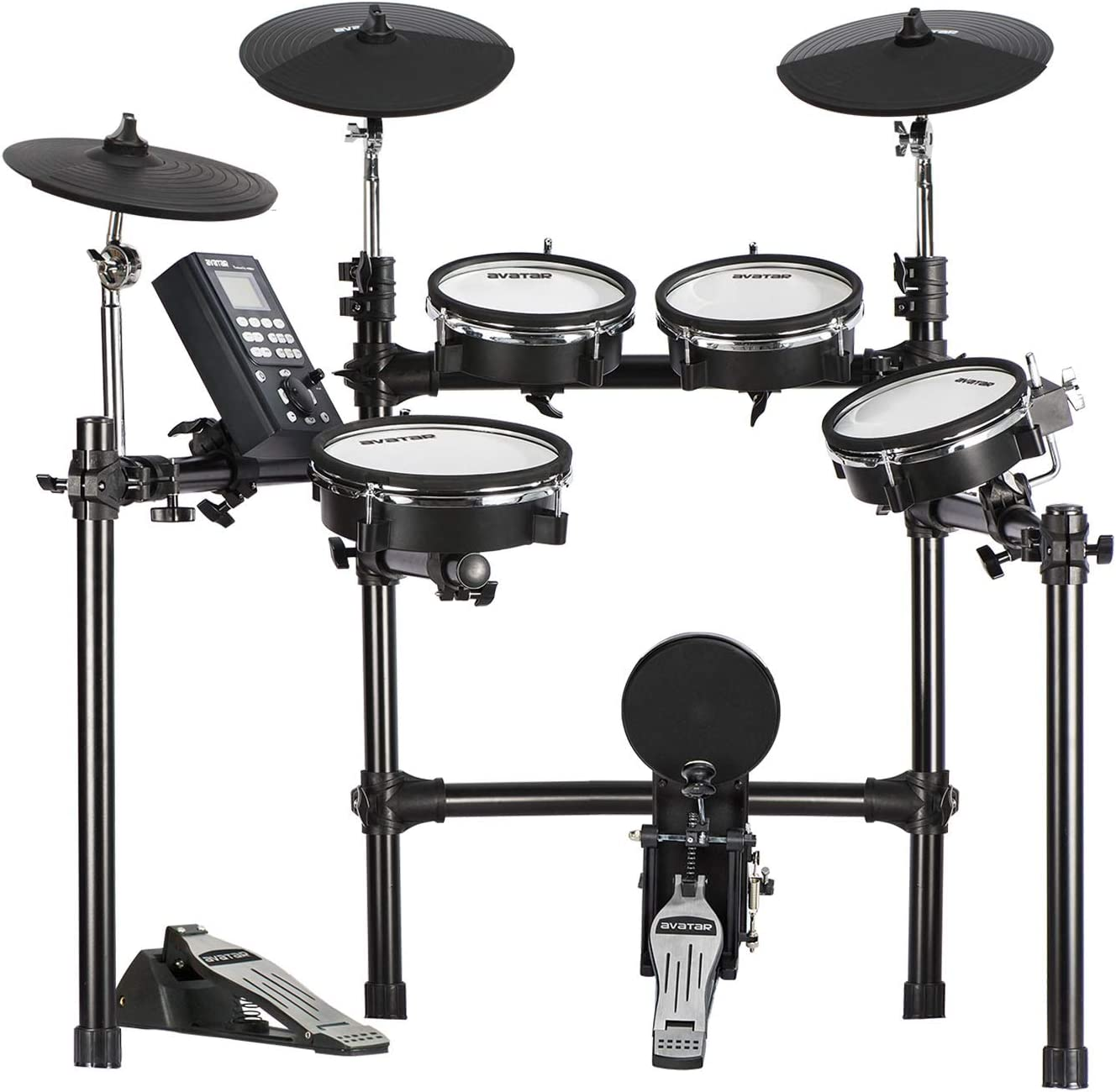 HXW SD201-C Electric Drum Set With Mesh Heads 8 Piece Electronic Drum Kit, All Dual-zone Pads and Cymbals With Choke, 346 Sounds, 50 Kits, Solid Racks
