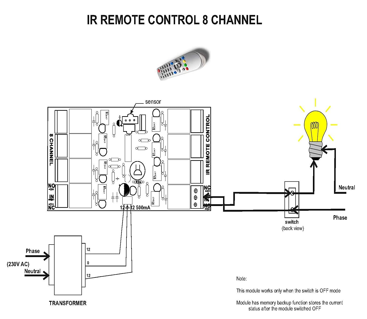 Buy Wireless Infrared Ir Remote Control 8 Channel Board Home Switch Circuit And Applications Industrial Automation Online At Low Prices In India