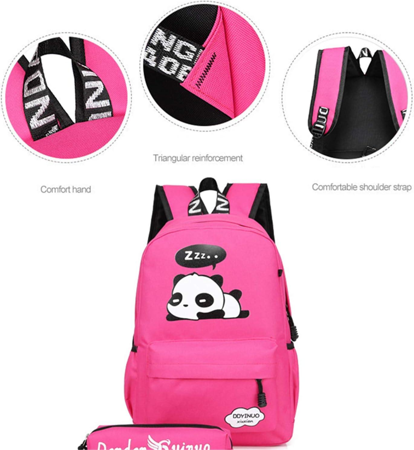 Black Jiuhexu 5Pcs Cute Panda Backpack Lightweight Casual Canvas School Backpacks