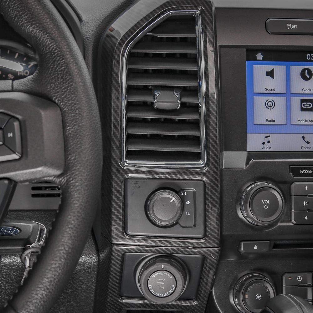 5pcs Keptrim for F150 ABS Carbon Fiber Central Console Panel Trim for 2015-2018 Ford F150